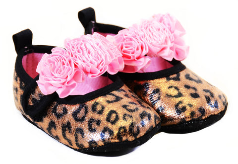 Glitter Leopard Pink Floral Rose Baby Infant Maryjane Flats