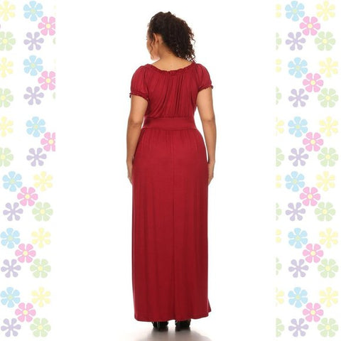 Plus Size Off the Shoulder Wench Style Maxi Dress