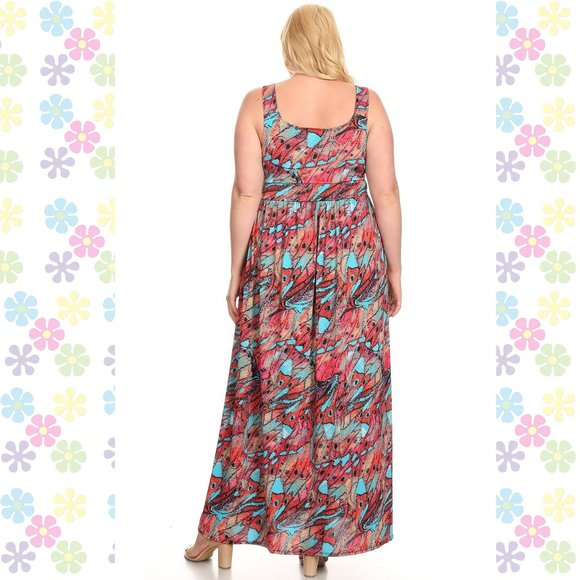 Plus Size Sleeveless Empire Waist Maxi Dress Made in the U.S.A.