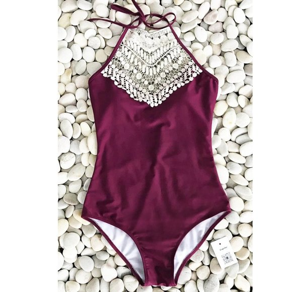Cupshe Wine Crochet Halter One-Pice Swimsuit