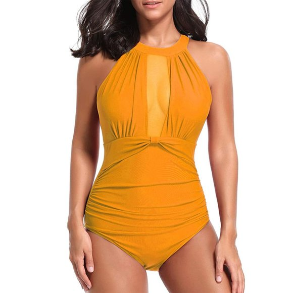 One Piece Swimsuit Mesh Ruched Monokini Swimwear XL