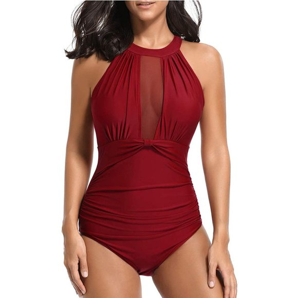 Tempt Me One Piece Swimsuit High Neck Plunge Monokini
