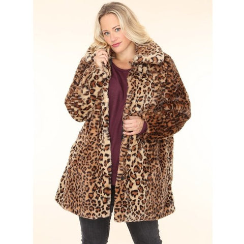 Plus Size Leopard Faux Fur Coat with Lining Pockets Size 1X - 3X