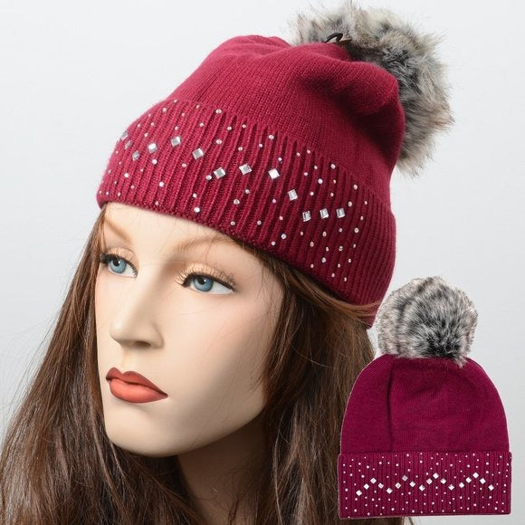 Bling! Chunky Pom Pom Warm Winter Beanie Hat New