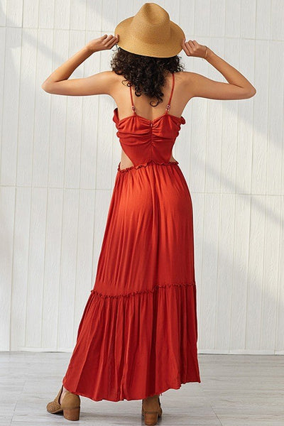 Cutout Ruffled Flowy Slits Summer Maxi Dress
