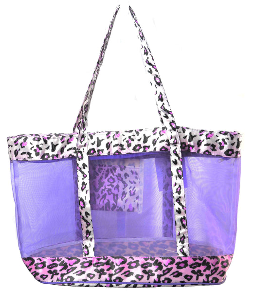 Huge Leopard Mesh Beach Grocery Tote Bag