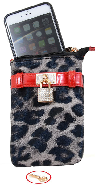 Grey Leopard Lock & Key Faux Leather Crossbody Cellphone Case