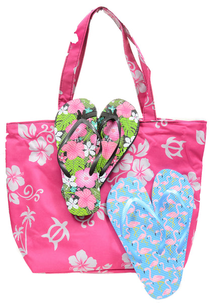 Two Pairs Flip Flops (Size 11) Bundle with Beach Bag Pink Hawaiian Flower Tote