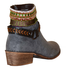 Colorful Embroidery Buckle Detail Chic Women's Vegan Booties Grey