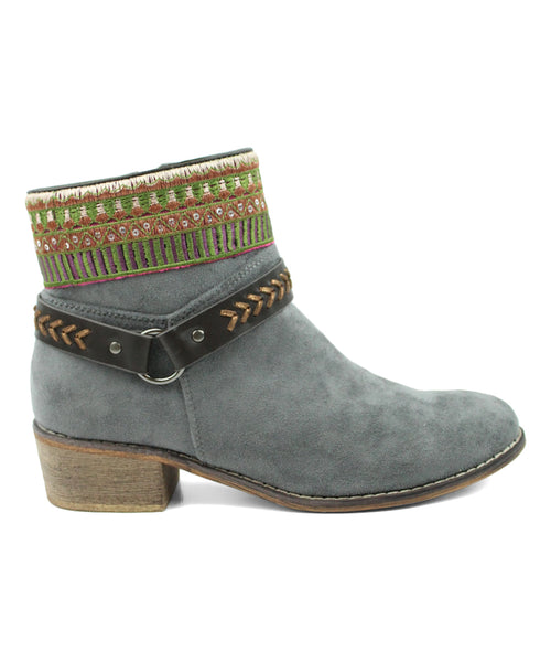 Colorful Embroidery Buckle Detail Chic Women's Vegan Booties