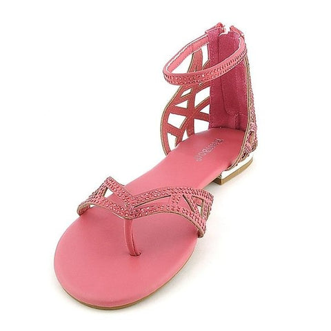 Bamboo Jeweled Cut-out Thong Flat Shoe Sandals