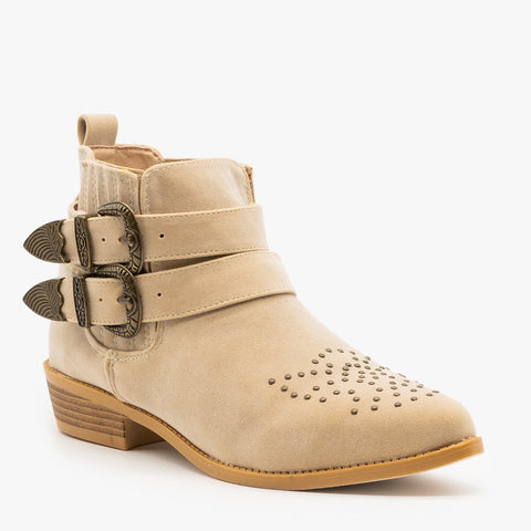 Edgy Western Buckled Booties Low Heel Vegan Suede
