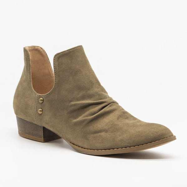 Side Cut-Out Studded Booties Block Heels Vegan Suede