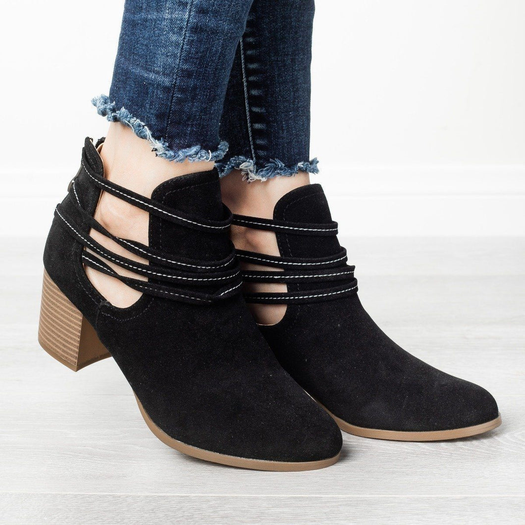 Strappy Wraparound Cut-out Booties Vegan Suede