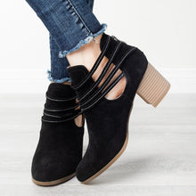 Load image into Gallery viewer, Strappy Wraparound Cut-out Booties Vegan Suede