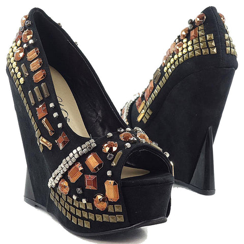 Chunky Bling Vegan Peep Toe Platform Funky Wedge Women's Shoes