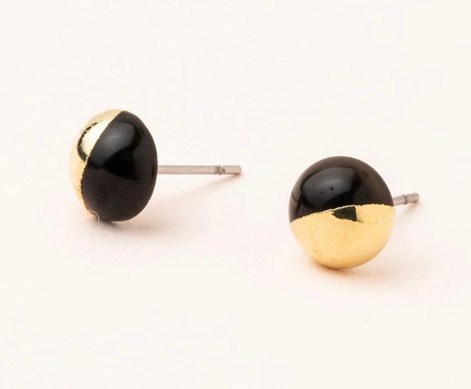 Scout Stone Dipped Stud -Black Spinal/Gold