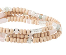 Load image into Gallery viewer, Scout ROSE QUARTZ/SILVER Wood/Stone Wrap Bracelet