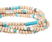 Load image into Gallery viewer, Scout TURQUOISE/SILVER Wood/Stone Wrap Bracelet