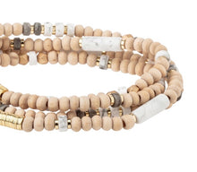Load image into Gallery viewer, Scout HOWLITE/GOLD Wood/Stone Wrap Bracelet