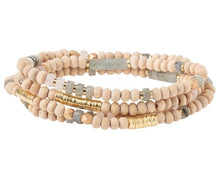 Load image into Gallery viewer, Scout LABRADORITE/GOLD Wood/Stone Wrap Bracelet