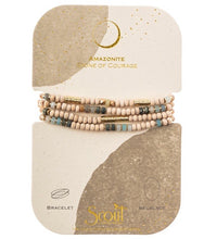 Load image into Gallery viewer, Scout AMAZONITE/GOLD Wood/Stone Wrap Bracelet