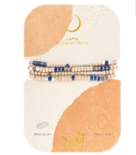 Load image into Gallery viewer, Scout  LAPIS/SILVER Wood/Stone Wrap Bracelet