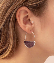 Load image into Gallery viewer, Scout Stone Prism Hoop -Amethyst/Gold