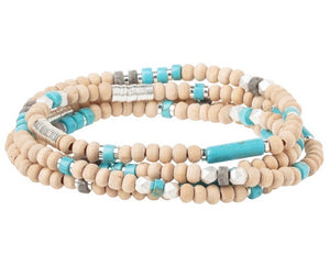 Scout TURQUOISE/SILVER Wood/Stone Wrap Bracelet