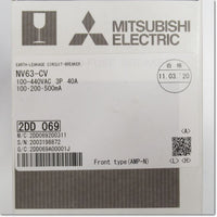 NV63-CV,3P 40A 100/200/500mA  漏電遮断器 ,Earth Leakage Breaker 3-Pole,MITSUBISHI