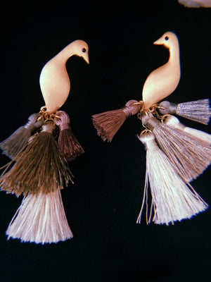 Brushed Gold Mauve Peacock Earrings