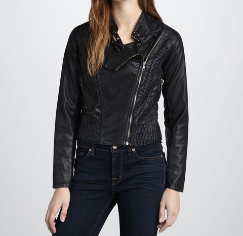 Women's simple black motorcycle jacket