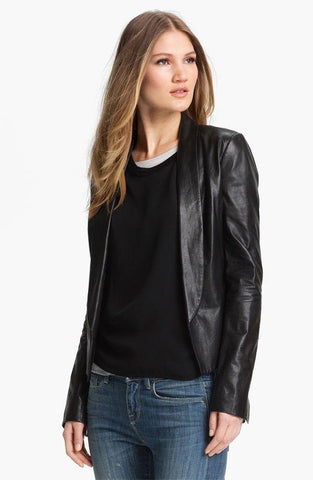 Women's black blazer leather jacket