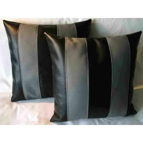 NOORA Designer Leather Pillow Square Cover Decorative For Couch Throw Pillow Handmade Cushion Black & Grey Stripe Paneled Cushion Case