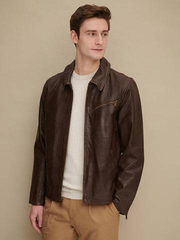 Men Samuel Brown Leather Jacket