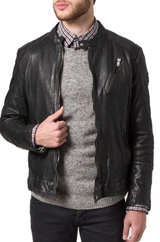 men's dark grey biker jacket with zipper pockets
