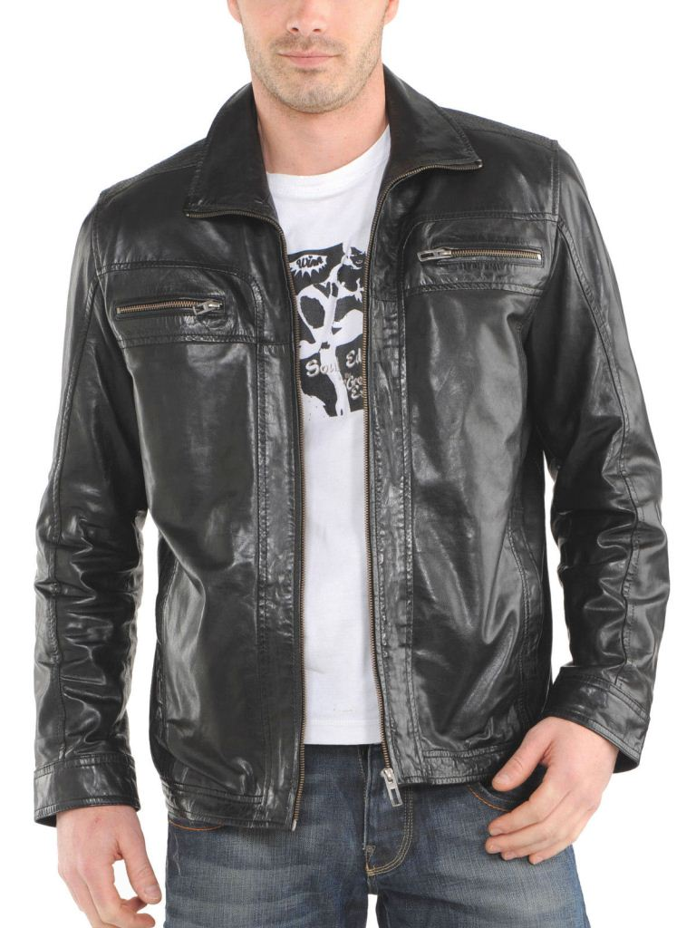 Men's dark grey leather jacket with collar and brown zippers