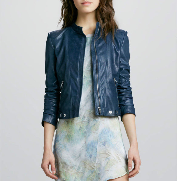 Women's Solid blue biker jacket