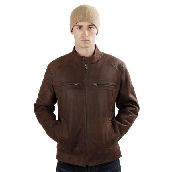 Mens opaque brown biker jacket