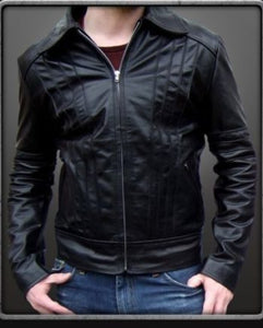 Men's black leather jacket with collar detailing,leather jacket from men,leather jackets online men,customized leather jackets men online,men leather jackets