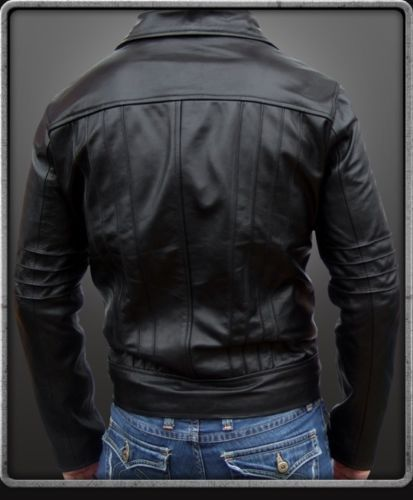 Men's black leather jacket with collar and detailing