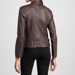 Women's solid brown biker jacket