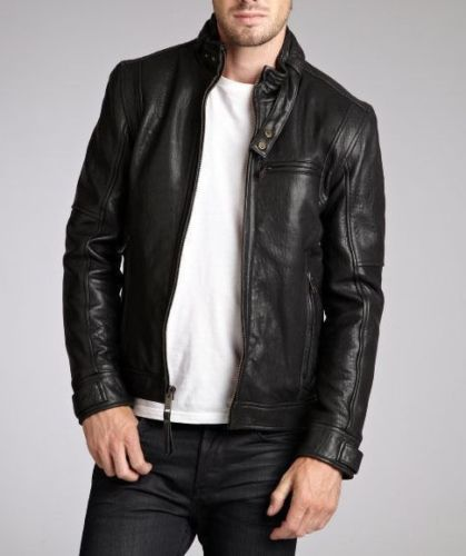 Men's black leather jacket with detailing