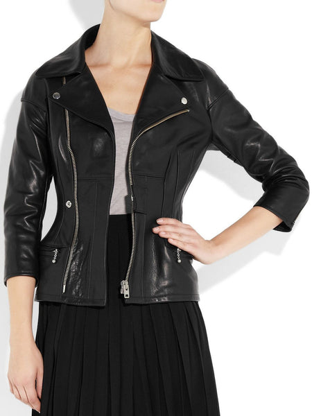 Women's Black Notched collar cinched black jacket