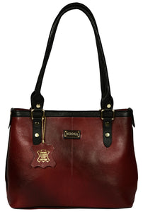 mahroon colour shopper leather bag