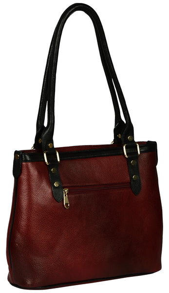 Women's mahroon colour shopper leather bag