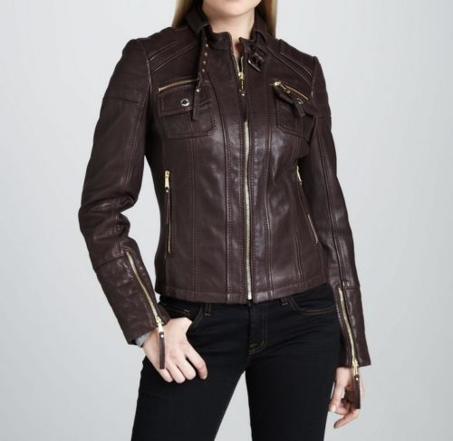Women's Brown Fitted Jacket With Front Pockets - Noora International
