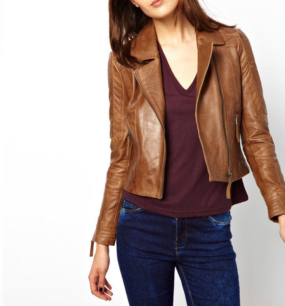 Women's Brown Orange side zipper leather jacket