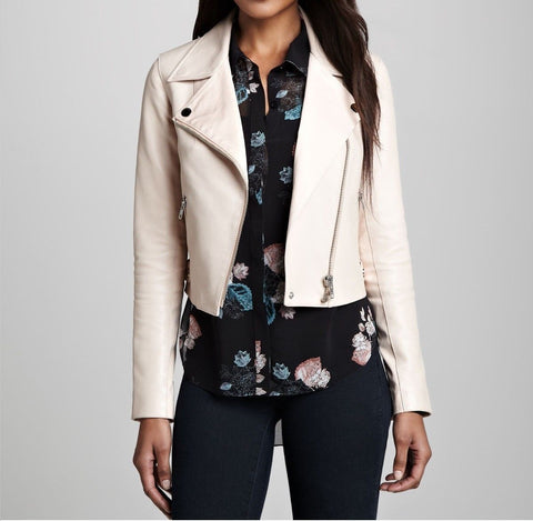 Women's Cropped Light Cream leather jacket