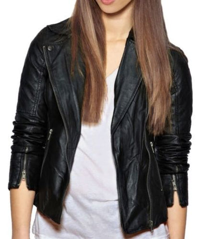 Women's Notched collared black leather jacket